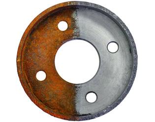 Half rusted metal disk