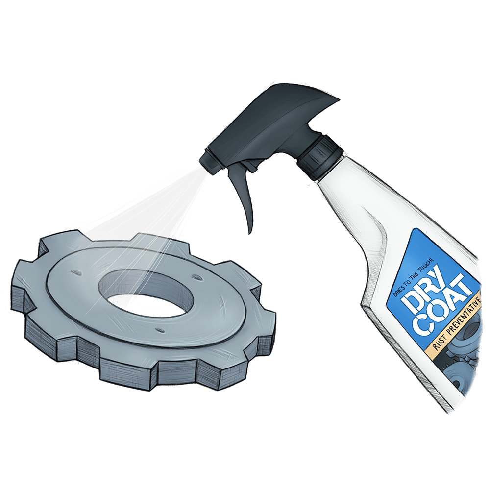 Dry coat bottle spraying cog wheel illustration