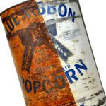 Half-rusted popcorn can